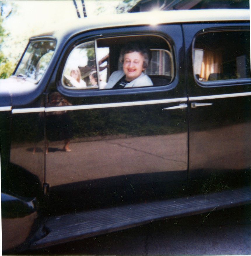 Patricia Cummins seated inside 1937 Arms family Buick.  May 21, 1981.  Photographer:  MVHS Staff